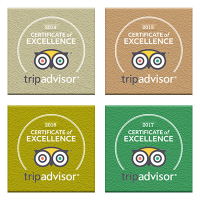 TripAdvisor Certificate of Excellence 2014, 2015, 2016, 2017