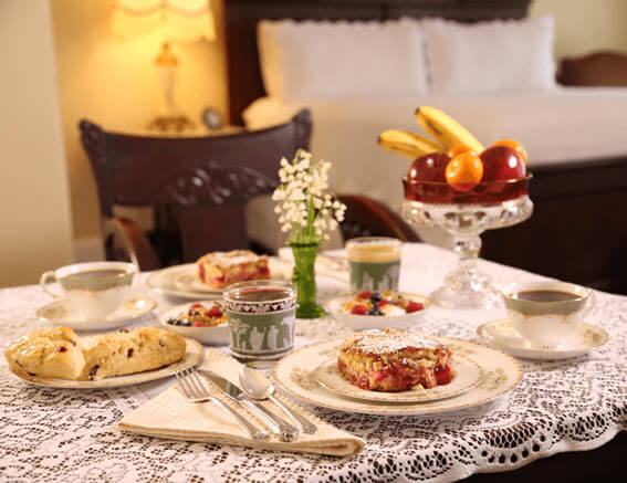 Breakfast en suite at Times House B&B, home-baked scones, breads, cakes, muffins, granola, yogurt, fresh fruit