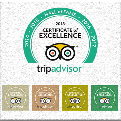 TripAdvisor Hall of Fame - Certificate of Excellence 2018, 2017, 2016, 2015, 2014