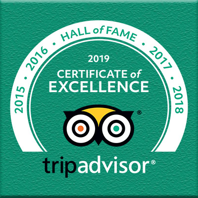 TripAdvisor Hall of Fame - Certificate of Excellence 2019, 2018, 2017, 2016, 2015, 2014