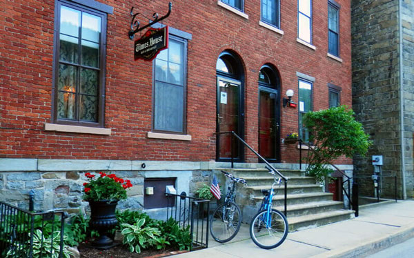 Times House B&B brick building front entrance on Race Street in Jim Thorpe